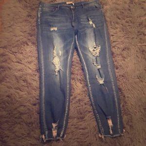 Denim - Distressed straight leg jeans